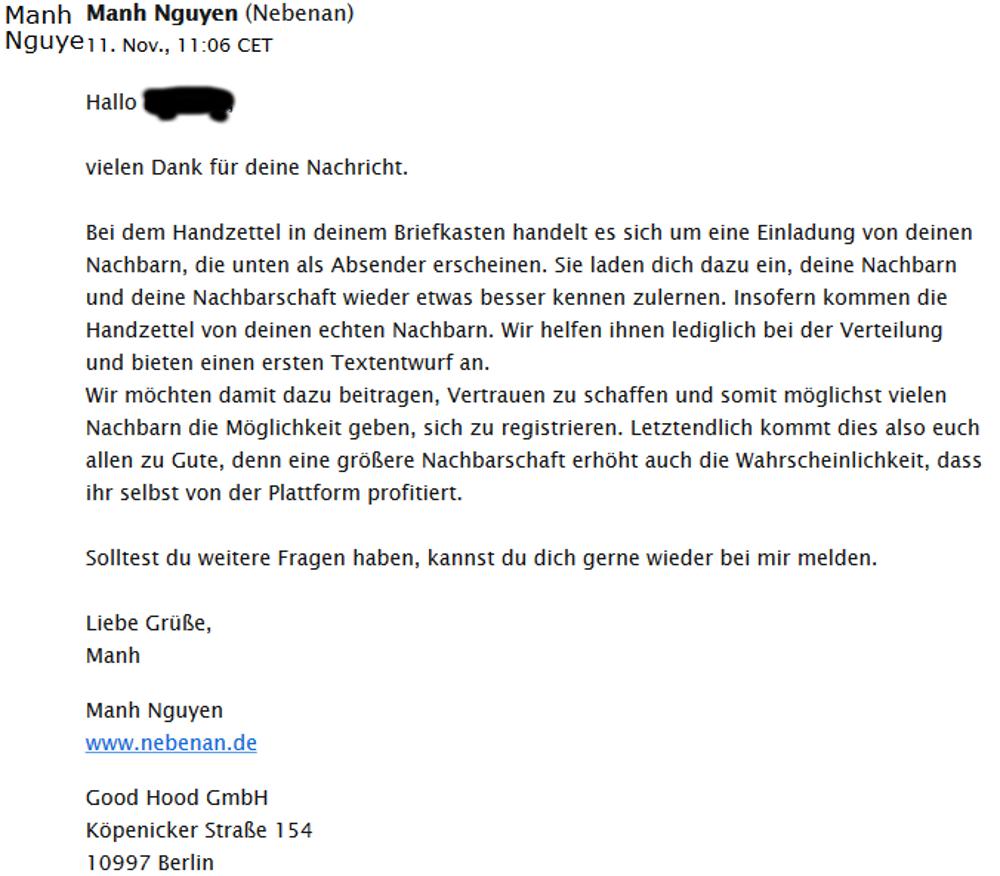 """Antwort von nebenan.de auf die wiederholte Kontaktanfrage zu """"Stephan und Alexandra aus der Bodelschwinghstraße"""" (11.11.2016)"""