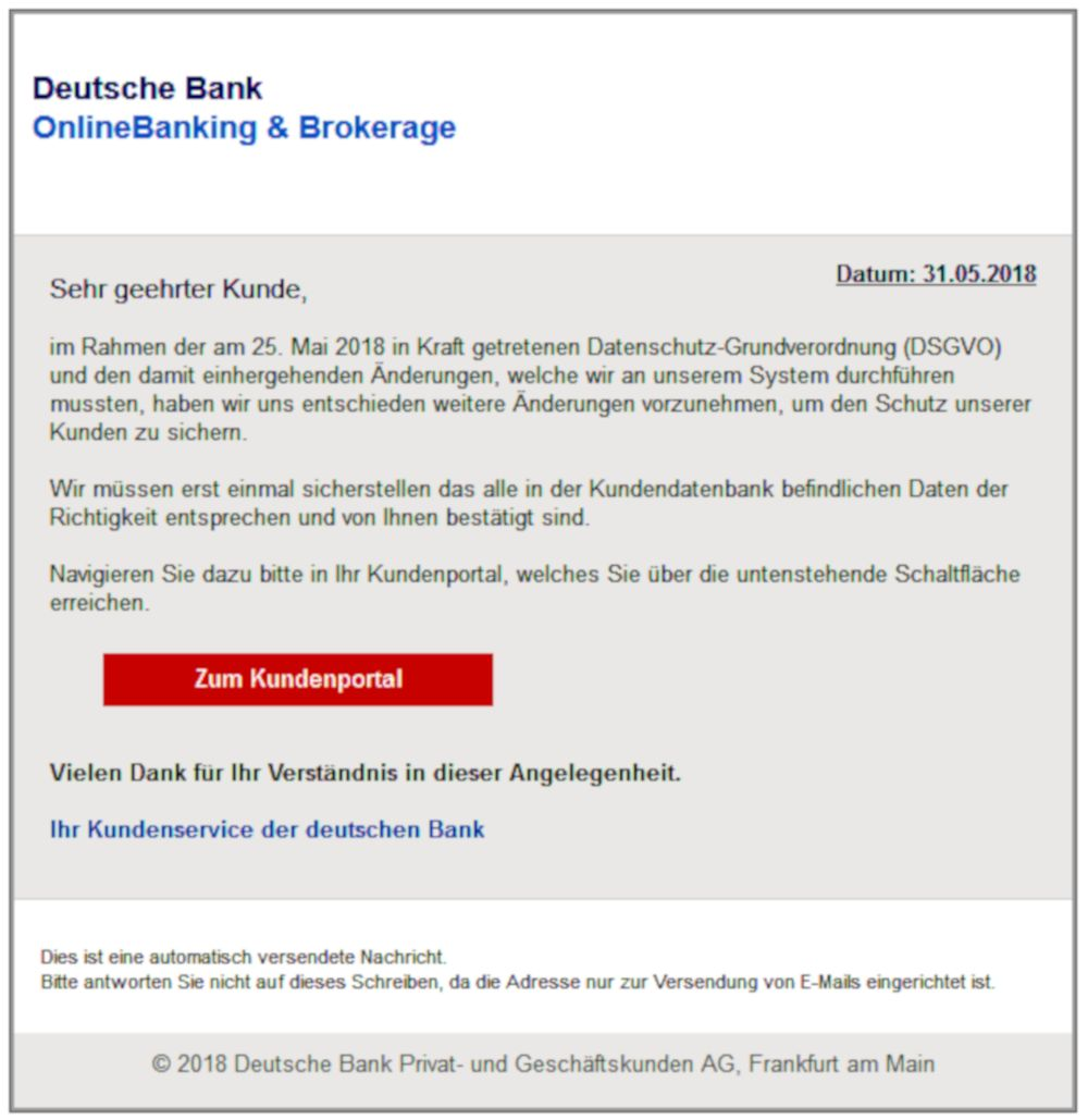 Angriff aufs Bankkonto per Email (31.5.2018)