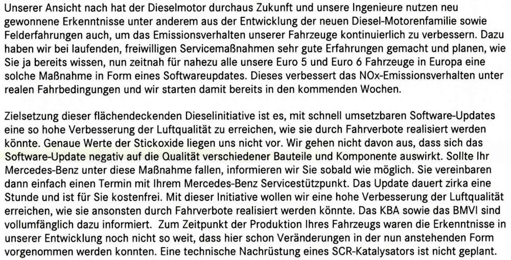 Daimler weiß angeblich nicht, wie viele Stickoxide der Euro 5-Diesel emittiert (Antwort von Daimler vom 2.8.2017 auf eine Kundenanfrage)