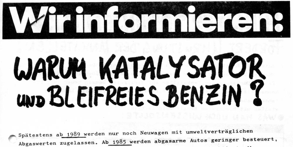 Flugblatt der SPD Hiltrup über die Einführung von PKW-Katalysatoren und bleifreiem Benzin (November 1984)