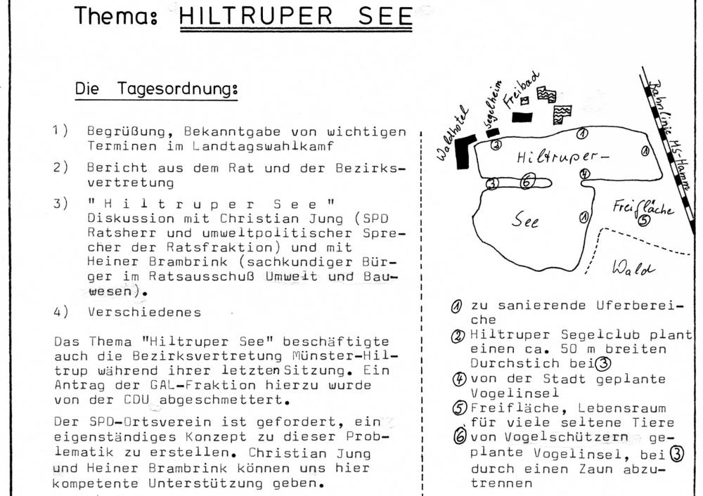 Mitgliederversammlung der SPD Hiltrup: Umweltkonzept für den Hiltruper See (März 1985; Quelle: Anker Nr. 45)