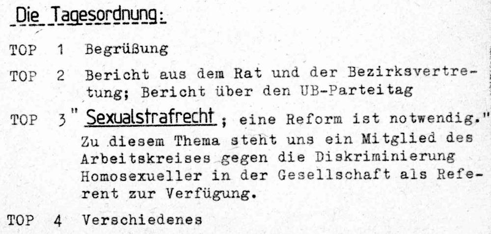 """Einladung zur Mitgliederversammlung der SPD Hiltrup am 4.6.1986 mit dem Hauptthema """"Sexualstrafrecht"""""""