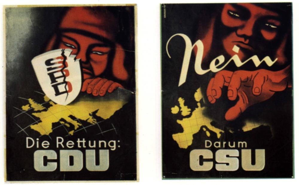 Wahlplakate der CDU und CSU zur Bundestagswahl 1949