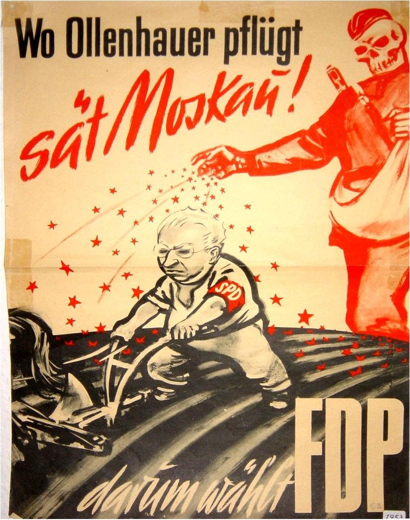 Plakat der FDP zur Bundestagswahl 1953: SPD-Vorsitzender Ollenhauer als Gehilfe der Russen