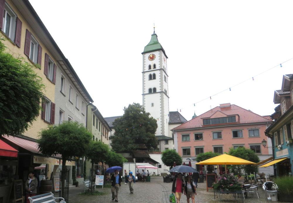 Wangen: Saumarkt mit Blick auf St. Martin (21.7.2018; Foto: Meyerbröker)