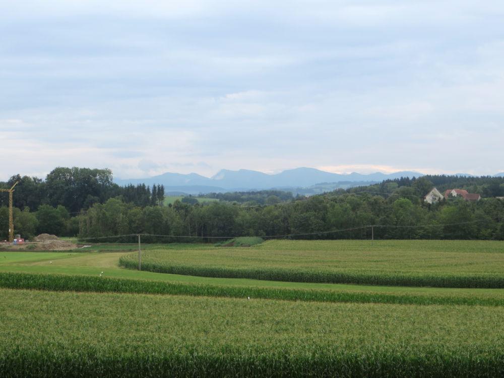 Panorama kurz hinter Wangen: Die Berge in Sicht (21.7.2018; Foto: Meyerbröker)