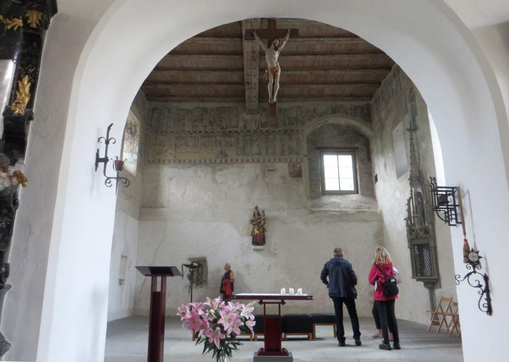 Bregenz: Chor der Martinskapelle im Erdgeschoss des Martinsturms (22.7.2018; Foto: Meyerbröker)