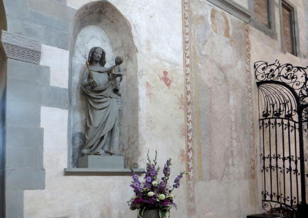 Reichenau: Münster, Muttergottes mit Kind (um 1300) (24.7.2018; Foto: Meyerbröker)