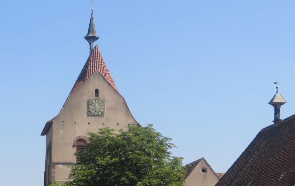 Reichenau: Turm des Münsters (24.7.2018; Foto: Meyerbröker)